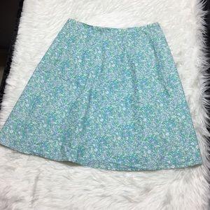 Orvis Skirt Floral Lined Flat Waist Women 16